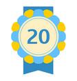 Birthday twentieth badge banner design flat vector image