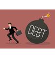 Businessman run away from debt bomb vector image vector image