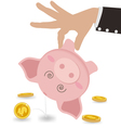 Businessman Taking Money Out of Cute Piggy Bank vector image