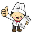 cartoon cook character receive an order isolated vector image