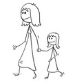 cartoon of mother walking with daughter and vector image vector image
