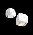 casino white dice on black background online vector image
