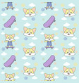 cat skateboard cloud seamless pattern ready vector image vector image