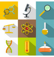 chemical experience icon set flat style vector image vector image