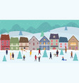 christmas winter wonderland landscape with fairy vector image vector image