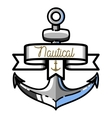 Color vintage nautical emblem vector image vector image