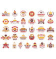 colored bakery labels vintage food logos with vector image