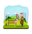 couple dancing hip-hop dance in a recreation park vector image vector image