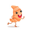 cute funny croissant cartoon character vector image vector image