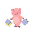 cute pig character standing with shopping bags vector image