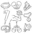 doodle sport equipment hand draw vector image vector image