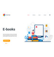 e-books landing page student reading book using vector image vector image
