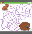 educational maze game with cartoon baby bear vector image vector image