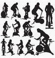 exercise bike silhouettes vector image vector image