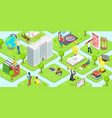 flat isometric concept campus vector image vector image