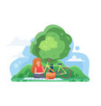 girl reading book under tree flat vector image
