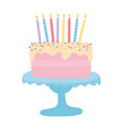 happy birthday sweet cake with candles cartoon vector image