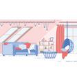 house attic room cozy interior design flat vector image
