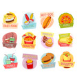 icons for fast food menu design vector image vector image