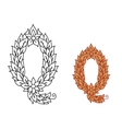 Letter Q in a foliate font vector image vector image