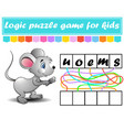 logic puzzle game learning words for kids find vector image vector image