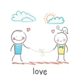 loving girl and guy holding thread vector image vector image