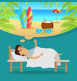 man sleeping and dreaming vacation on beach vector image vector image