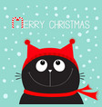 merry christmas candy cane text black cat kitten vector image vector image