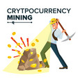 miner young male mining gold coins vector image