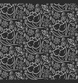 monochrome pattern with hand drawn flowers vector image vector image