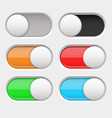 on and off long oval icons gray and colored vector image vector image