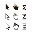 Pixel cursors icons mouse hand arrow hourglass vector image vector image