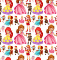 Seamless female characters from fairytales vector image vector image