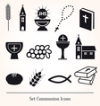 Set communion catholic icons vector image