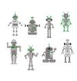 Set of abstract cartoon robots vector image vector image
