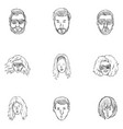 set sketch hairstyles icons vector image vector image