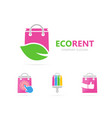 shop and leaf logo combination sale and vector image vector image