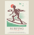 surfing club retro poster design template vector image vector image