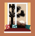 the sofa on window sill with mountains vector image vector image