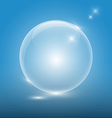 transparent glass ball on blue background vector image