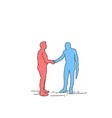 two silhouette businessman hand shake business vector image