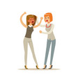 two young businesswomen characters fighting and vector image vector image