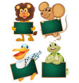 wild animals and blank boards vector image vector image