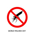 world malaria day flat design vector image