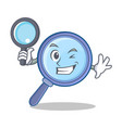 detective magnifying glass character cartoon vector image