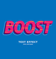 3d bold red boost style text effect vector image vector image
