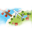 Aerial scene of airplane flying over land vector image vector image