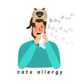 allergic person with cat on head vector image vector image
