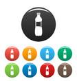 aloe bottle icons set color vector image vector image