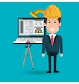 architect laptop tools job vector image